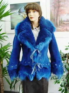 22119a30ab94 NEW ROYAL BLUE COYOTE FUR JACKET FOR WOMEN - Oliver Furs - Coats ...